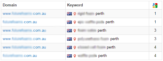 Search engine rankings for Perth website